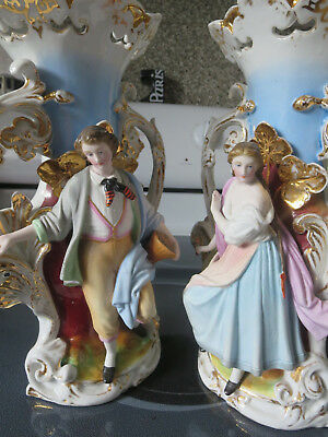 Pair French Old Paris Porcelain  Figural Vases Same one as On Titanic Mantel