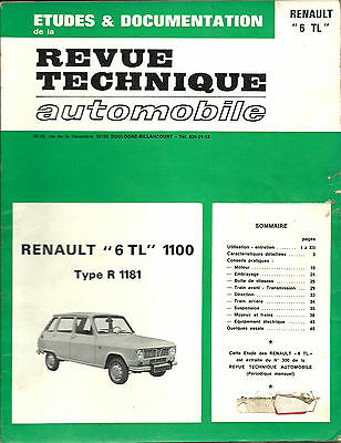 Revue Technique Automobile (RTA) - Renault 6 TL 1100 Type R 1181