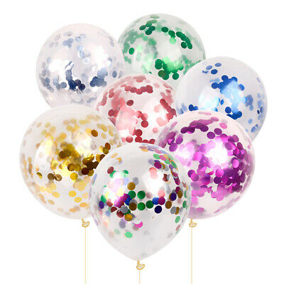 5X 12' Clear Confetti Filled Helium Large Balloons Birthday Party Wedding Decor