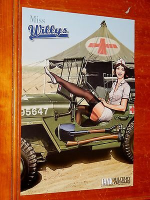 Awesome U.s. Army Willys Jeep Military Art Poster With Sexy Nurse - American
