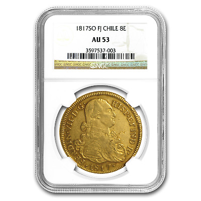 1817-SO FJ Chile Gold 8 Escudos Ferdinand VII AU-53 NGC - SKU#153794