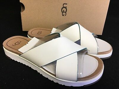 2816bdd230f UGG AUSTRALIA KARI White LEATHER IMPRINT SLIDE SANDALS WOMEN'S Shoes 1015822