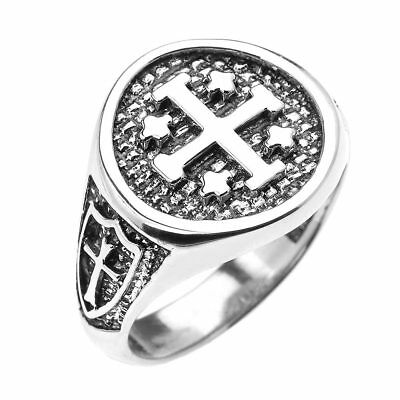 Sterling Silver Jerusalem Crusaders Cross Mens Round Ring