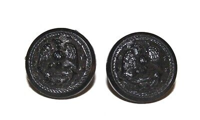 WWII US Navy black plastic button small size 14mm 9/16in lot of 2 B7134