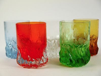6 Gläser Glas 80er 70er Vintage Eisglas Pop Art iceglass retro Space age 2144