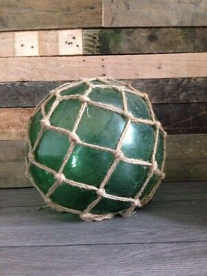 "Antique Vintage Huge 12"" Green Glass Fishermans Floats Rope Net Nautical Seaside"