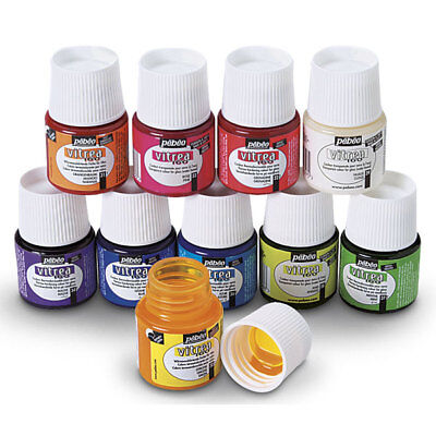 Pebeo Vitrea 160 Glass Paints - 45ml Bottles - Gloss, Frosted, Shimmer & Mediums