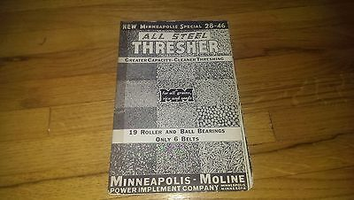Minneapolis Moline MM Special 28-46 All Steel Thresher Sales Brochure Pamphlet