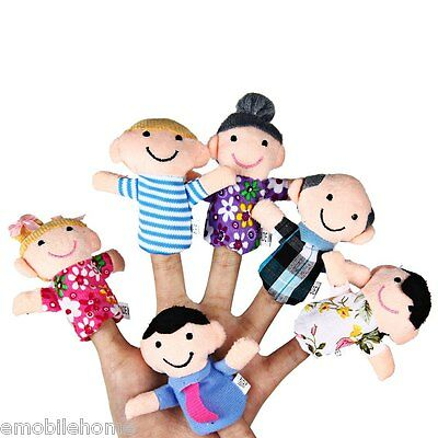6pcs educativo Familia dedo marionetas Toalla Muñeca Cartoon juguete