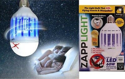 Zapp Light LED Light Bulb Energy-Saving Lamp Kills Flying Insects & Mosquitoes