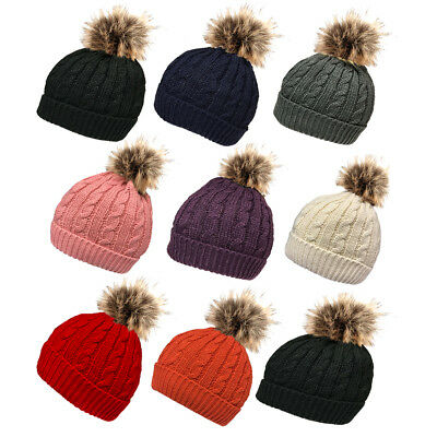 Ladies Winter knit hat with cosy fleece liner and detachable faux fur  pompom