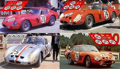 Calcas Ferrari 250 GTO Tourist Trophy 1962 1:32 1:43 24 18 64 87 slot decals