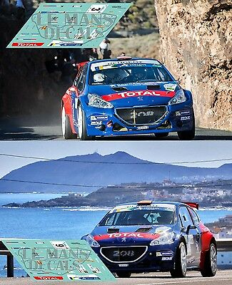Calcas Peugeot 208 T16 Rally Canarias 2017 3 9 ERC 1:32 1:43 1:24 1:18 decals