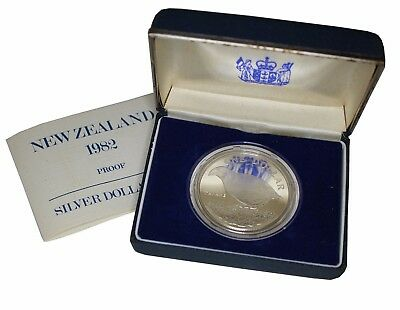 1982 Royal Mint New Zealand Silver Proof $1 Coin in Case- Takahe