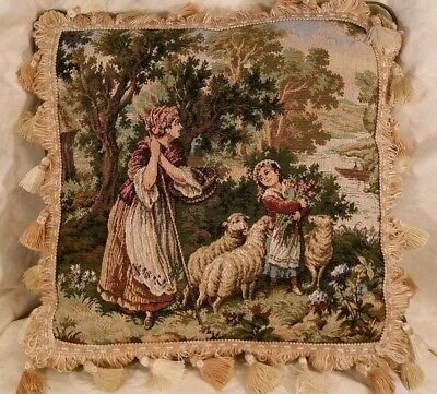 Pillow Vintage French Country Tapestry, Woman Child Sheep, Newly Designed,