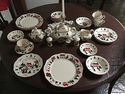 Mason's Ironstone Made in England Christmas Village 4 Person Dinner Setting.