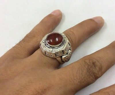 Stunning Stone Carnelian Ring Beautiful Engraved Silver Filigree Carved 8.5 US