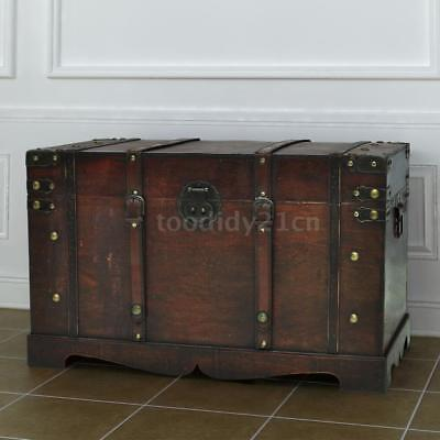 Vintage Large Wooden Treasure Storage Chest Box Trunk Wood Home Furniture G8V1