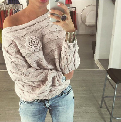 Women Knitted Batwing Sleeves Blouse Loose Sweater Cardigans Jumper Sexy Tops