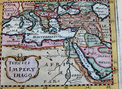Turkey Turkish Ottoman Empire Arabia 1681 Duval rare miniature old handcolor map