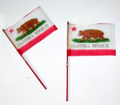 "2 VTG MINIATURE SILK FLAGS  Republic of California 1950'S, 3""  CRAFTS OR DOLLS"