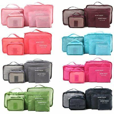 6pcs Waterproof Travel Clothes Storage Bag Luggage Organizer Pouch Packing Cube@
