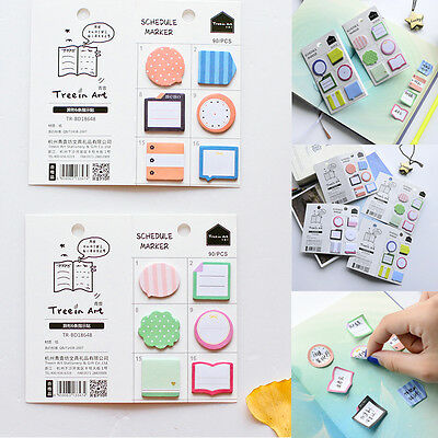 Schedule Maker Self-Adhesive Memo Pad Haftnotizen Bookmark School Office