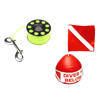 31m Diving Spool with Bolt Snap+ 31 x 29.5cm Scuba Flag with Inflatable Buoy