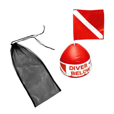 20KG Load Strong Diving Fin Shoes Mesh Bag + Scuba Flag with Inflatable Buoy