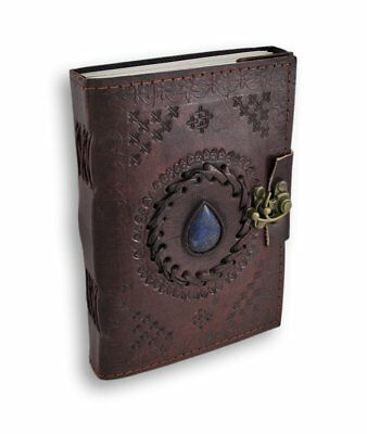 Handmade embossed leather journal refillable travel journal pocket diary unruled