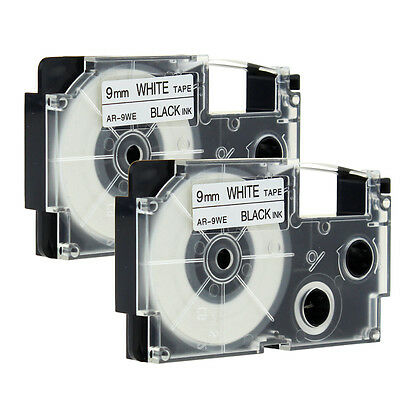 2PACK Compatible for Casio XR-9WE1 Black Print on White Label Tapes KL60 3/8''