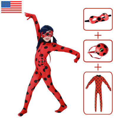 Girls Miraculous Ladybug Marinette Dupain Cheng Costume Jumpsuit Halloween Mask