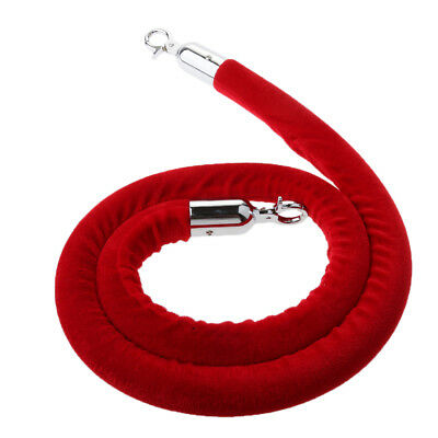 Red Queue Rope Barrier Velvet Rope Crowd Control with Silver Ends 1.5m