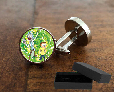 Rick And Morty - Cufflinks - 3D Glass Lens - Cartoon - Mens Novelty Gift - 2