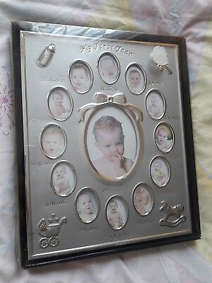 Photo frame  - My First Year Two Tone Silver Baby Photo frame