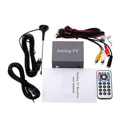 Mini Analog Auto TV Receiver Car Automobile Tuner Box 9224 Remote Control Black