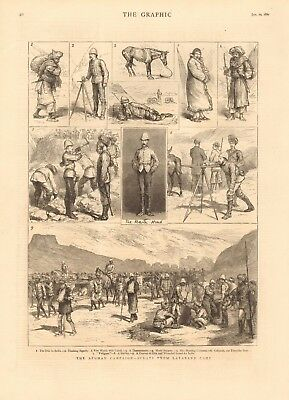 1880 Antique Print - Afghan Campaign - Scenes From Lataband Camp