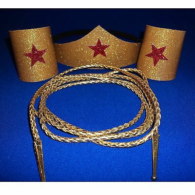 Wonder Woman Costume Choose number pcs & Size Tiara Cuffs Lasso Super Hero