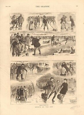 1880 Antique Print - Sports On The Ice, Curling,skating