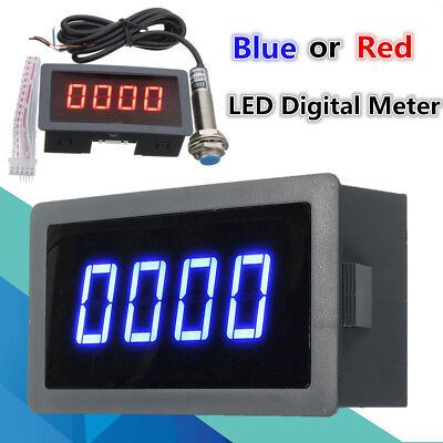 Blue/Red 4 Digital LED Tachometer RPM Speed Meter + Hall Proximity Switch Sensor