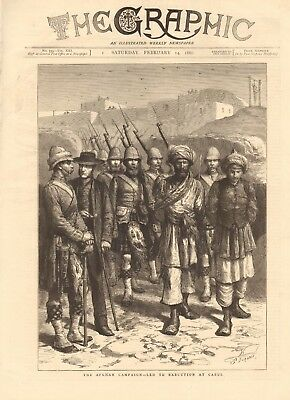 1880 Antique Print - Afghan Campaign-Led To Execution At Kabul