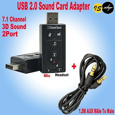 USB 2.0 2Port 3D Sound Card Adapter & 3.5mm Male To Male Aux Audio Cable AU