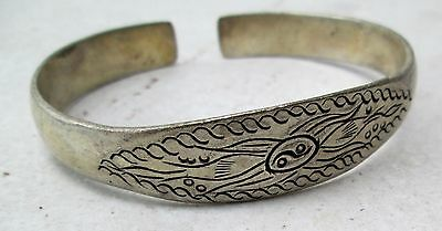 Old Hmong Hill Tribe Unisex Adjustable Silver Bracelet Traditional Hmong Design