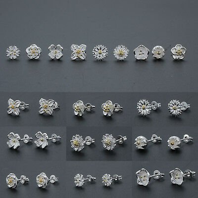 Women Elegant 925 Sterling Silver Ear Stud Daisy Flower Earrings Fashion Jewelry