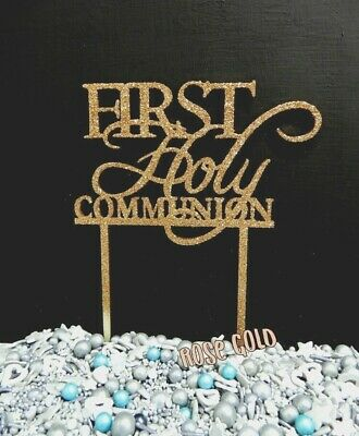 1St Holy Communion Rose Gold Silver Black White Raw Cross Cake Topper Sign Wood