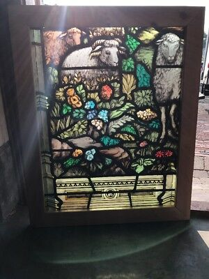 Sg 1534 Antique Painted In Fired Sheep And Floral Landing Window 28.5 X 35.5