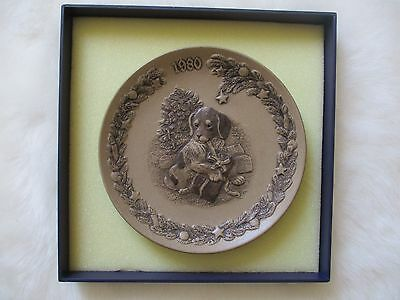Poole Pottery Dog Christmas Plate Limited Edition Barbara Linley Adams  1980