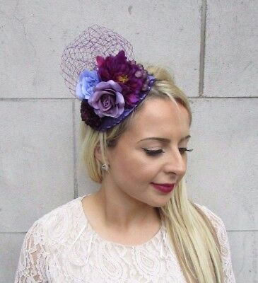 Dark Purple Lilac Rose Flower Fascinator Net Hair Headband Wedding Races 3737