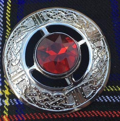 Men's Kilt Fly Plaid Brooch Celtic Design Red Stone/Ladies Shawl Brooch