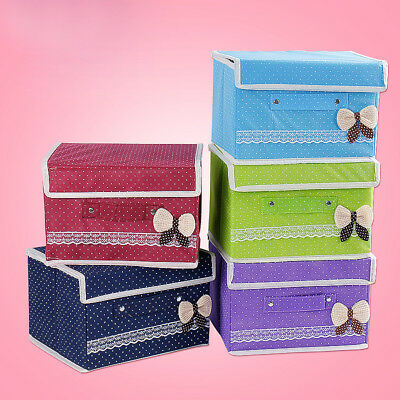 Non Woven Fabric Foldable Storage Organizer Lid Shelving Box for Clothing Toys